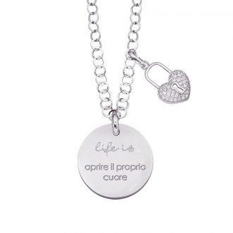 Life is Enjoy collana con medaglietta aprire il proprio cuore e charm in zirconi For You Jewels