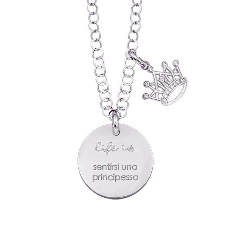 Life is Enjoy collana con medaglietta sentirsi una principessa e charm in zirconi For You Jewels