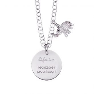 Life is Enjoy collana con medaglietta realizzare i propri sogni e charm in zirconi For You Jewels