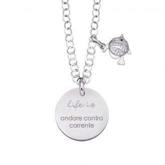 Life is Enjoy collana con medaglietta andare contro corrente e charm in zirconi For You Jewels