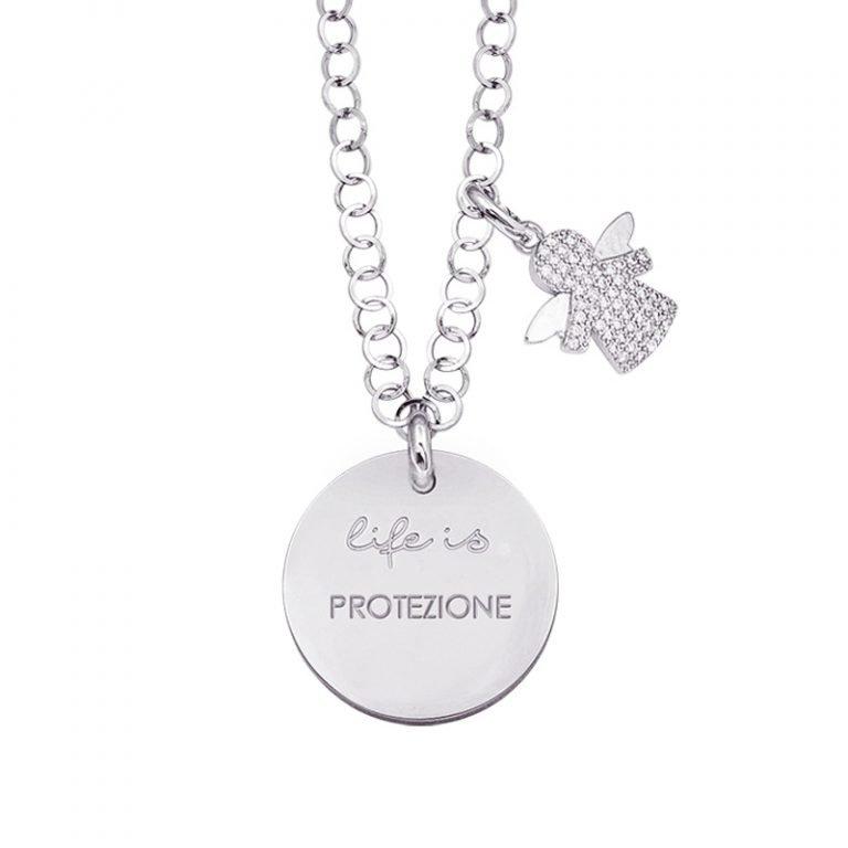 Life is Enjoy collana con medaglietta protezione e charm in zirconi For You Jewels