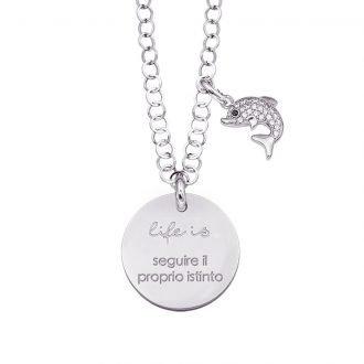 Life is Enjoy collana con medaglietta seguire il proprio istinto e charm in zirconi For You Jewels