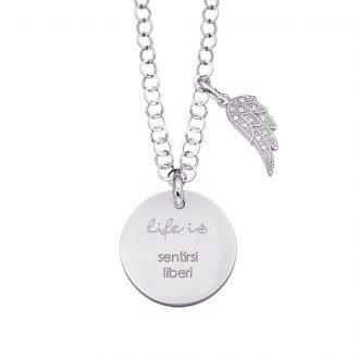 Life is Enjoy collana con medaglietta sentirsi liberi e charm in zirconi For You Jewels