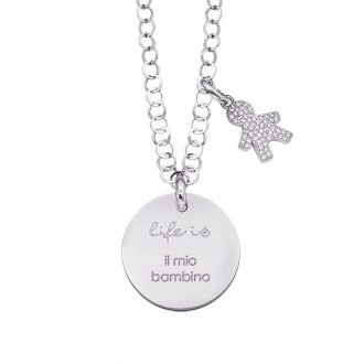 Life is Enjoy collana con medaglietta il mio bambino e charm in zirconi For You Jewels