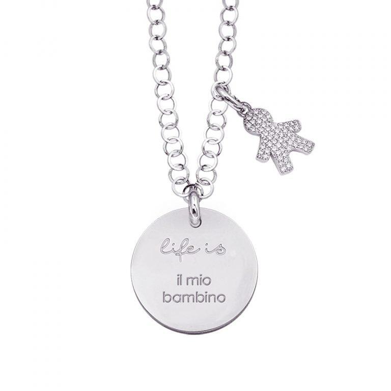 Life is Enjoy collana con medaglietta il mio bambino e charm in zirconi For You Jewels