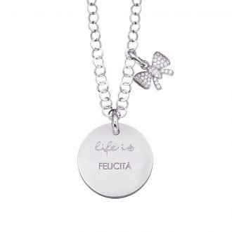 Life is Enjoy collana con medaglietta felicità e charm in zirconi For You Jewels