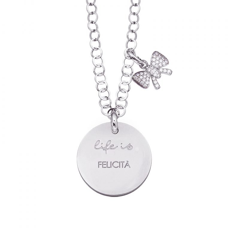 Life is Enjoy collana con medaglietta felicità e charm in zirconi For You Jewels