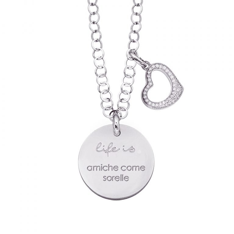 Life is Enjoy collana con medaglietta amiche come sorelle e charm in zirconi For You Jewels