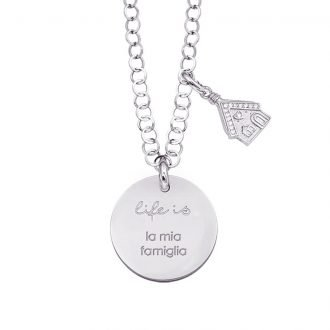 Life is Enjoy collana con medaglietta la mia famiglia e charm in zirconi For You Jewels