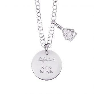 Life is Enjoy collana con medaglietta la mia famiglia e charm in zirconi For You Jewels