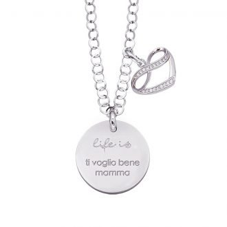 Life is Enjoy collana con medaglietta ti voglio bene mamma e charm in zirconi For You Jewels