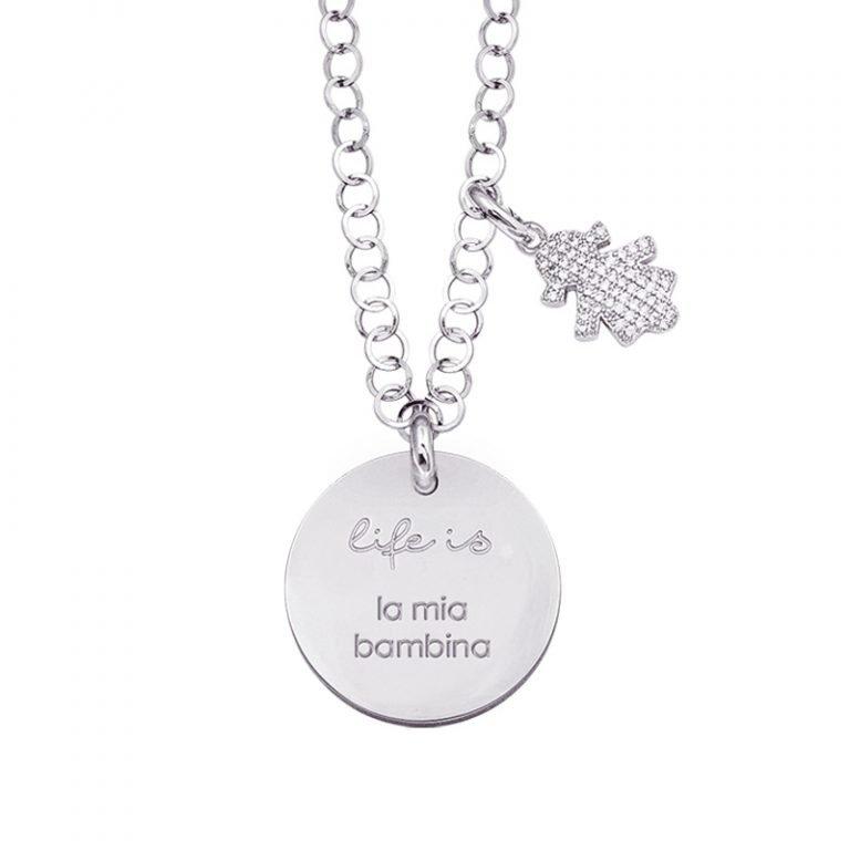 Life is Enjoy collana con medaglietta la mia bambina e charm in zirconi For You Jewels