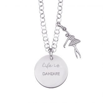 Life is Enjoy collana con medaglietta danzare e charm in zirconi For You Jewels