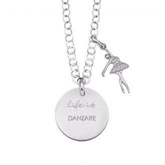Life is Enjoy collana con medaglietta danzare e charm in zirconi For You Jewels