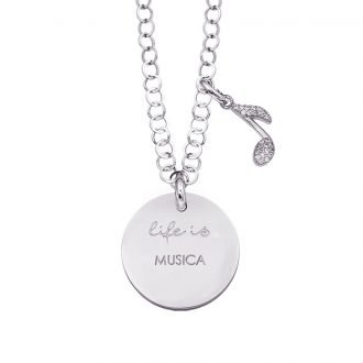 Life is Enjoy collana con medaglietta musica e charm in zirconi For You Jewels