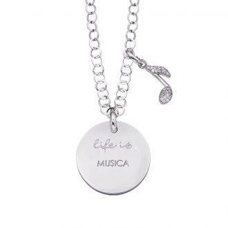 Life is Enjoy collana con medaglietta musica e charm in zirconi For You Jewels