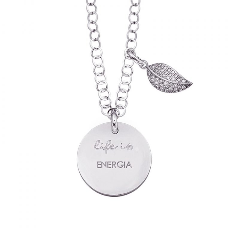 Life is Enjoy collana con medaglietta energia e charm in zirconi For You Jewels