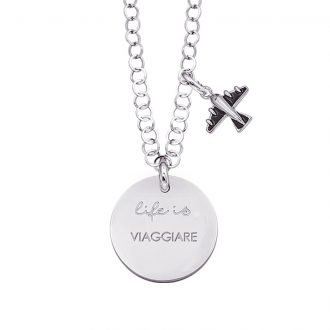 Life is Enjoy collana con medaglietta viaggiare e charm in zirconi For You Jewels