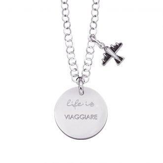 Life is Enjoy collana con medaglietta viaggiare e charm in zirconi For You Jewels