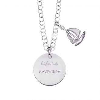Life is Enjoy collana con medaglietta avventura e charm in zirconi For You Jewels