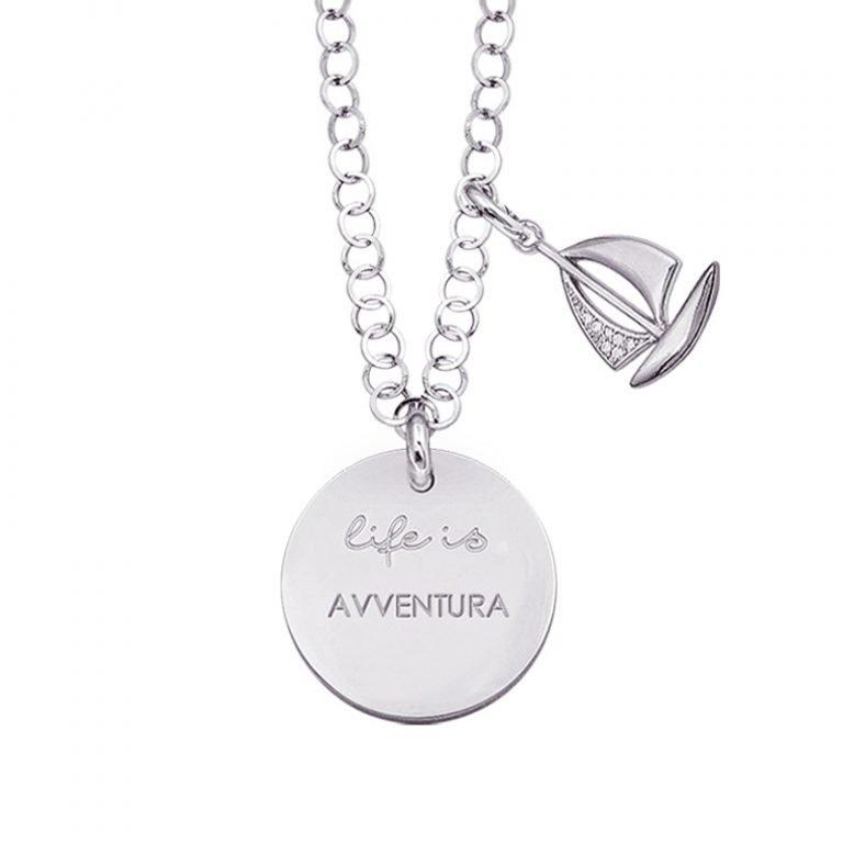 Life is Enjoy collana con medaglietta avventura e charm in zirconi For You Jewels