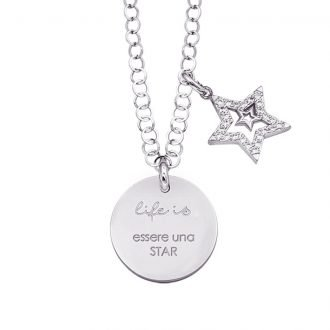 Life is Enjoy collana con medaglietta essere una star e charm in zirconi For You Jewels