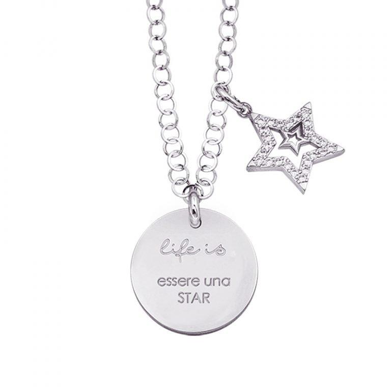 Life is Enjoy collana con medaglietta essere una star e charm in zirconi For You Jewels
