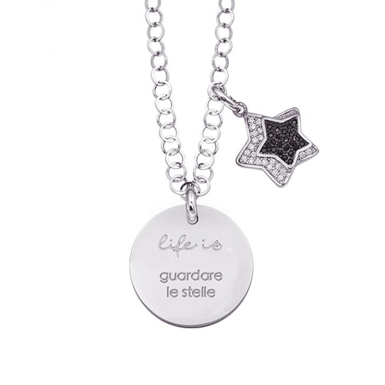 Life is Enjoy collana con medaglietta guardare le stelle e charm in zirconi For You Jewels