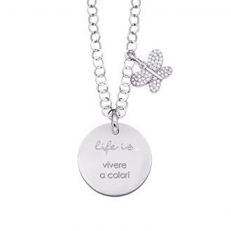 Life is Enjoy collana con medaglietta vivere a colori e charm in zirconi For You Jewels