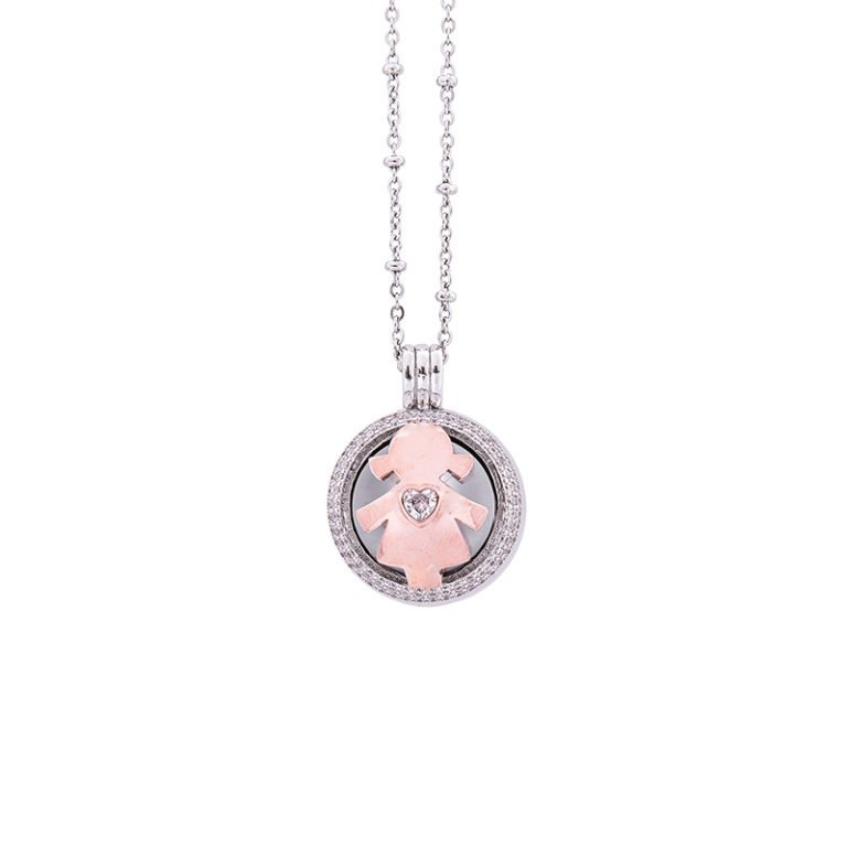 Lifesound-dolce-attesa-collana-chiama-angeli-Bambina-Cuore-KOT-P10214PW For You Jewels