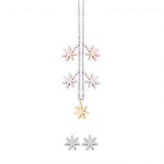 Parure Lilian, collana e orecchini in acciaio galvanica tre colori ST10088 4 You Jewels