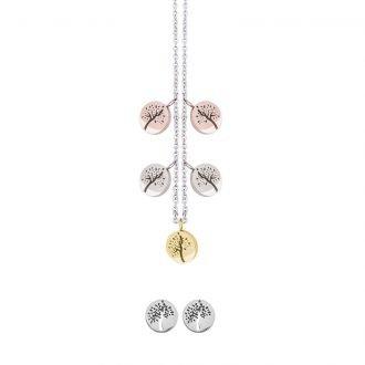 Parure Lilian, collana e orecchini in acciaio galvanica tre colori ST10089 4 You Jewels