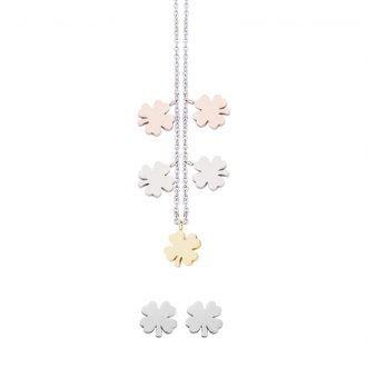 Parure Lilian, collana e orecchini in acciaio galvanica tre colori ST10098 4 You Jewels