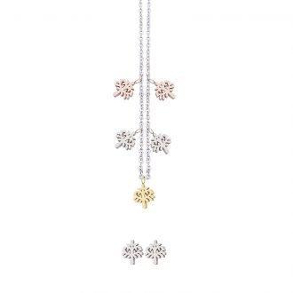 Parure Lilian, collana e orecchini in acciaio galvanica tre colori ST10102 4 You Jewels