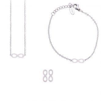 Parure Sharon bracciale collana e orecchini in acciaio ST10103 4 You Jewels