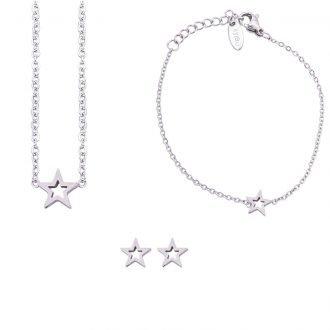 Parure Sharon bracciale collana e orecchini in acciaio ST10108 4 You Jewels