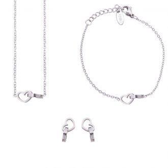 Parure Sharon bracciale collana e orecchini in acciaio ST10110 4 You Jewels
