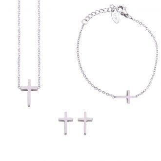 Parure Sharon bracciale collana e orecchini in acciaio ST10111 4 You Jewels