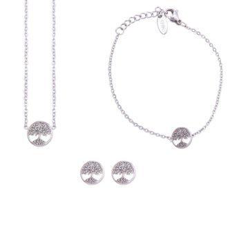 Parure Sharon bracciale collana e orecchini in acciaio ST10112 For You Jewels