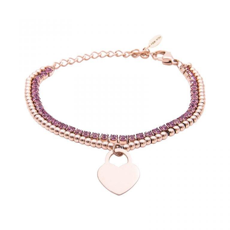 Bracciale Crystal in acciaio e cristalli Cuore B10955 For You Jewels