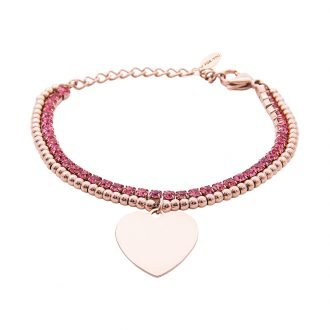 Bracciale Crystal in acciaio e cristalli Cuore B10956 For You Jewels