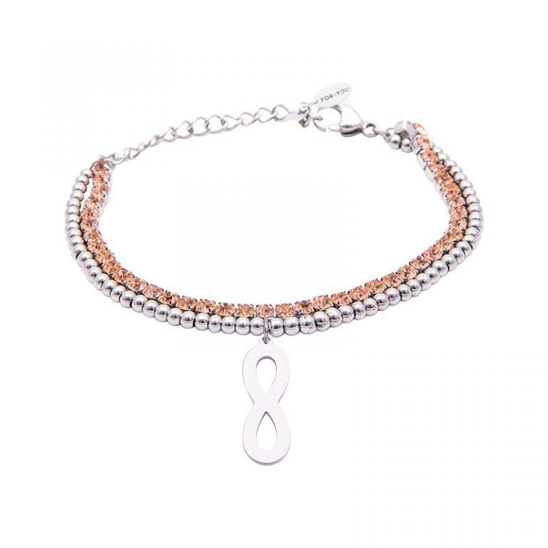 Bracciale Crystal in acciaio e cristalli Infinito B10943 For You Jewels