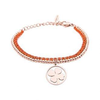 Bracciale Crystal in acciaio e cristalli Quadrifoglio B10959 For You Jewels