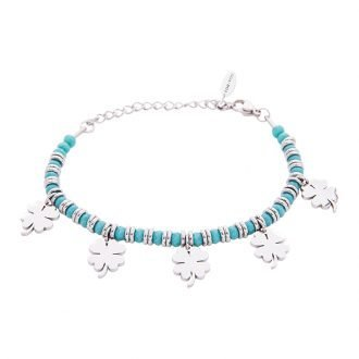 Bracciale Crystal in acciaio e cristalli Quadrifoglio B11163 For You Jewels