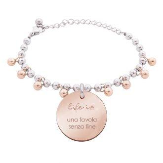 Bracciale Life Is Love in acciaio con medaglietta una favola senza fine B10820 For You Jewels