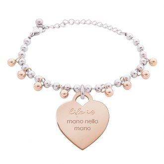 Bracciale Life Is Love in acciaio con medaglietta mano nella mano B10821 For You Jewels