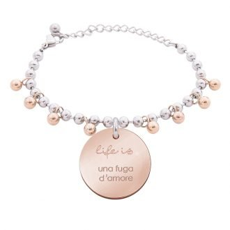 Bracciale Life Is Love in acciaio con medaglietta una fuga d'amore B10823 For You Jewels