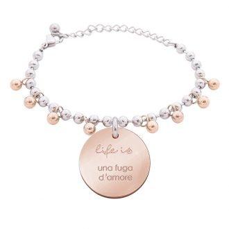 Bracciale Life Is Love in acciaio con medaglietta una fuga d'amore B10823 For You Jewels