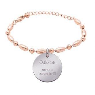 Bracciale Life Is Love in acciaio con medaglietta amare senza limiti B10824 For You Jewels
