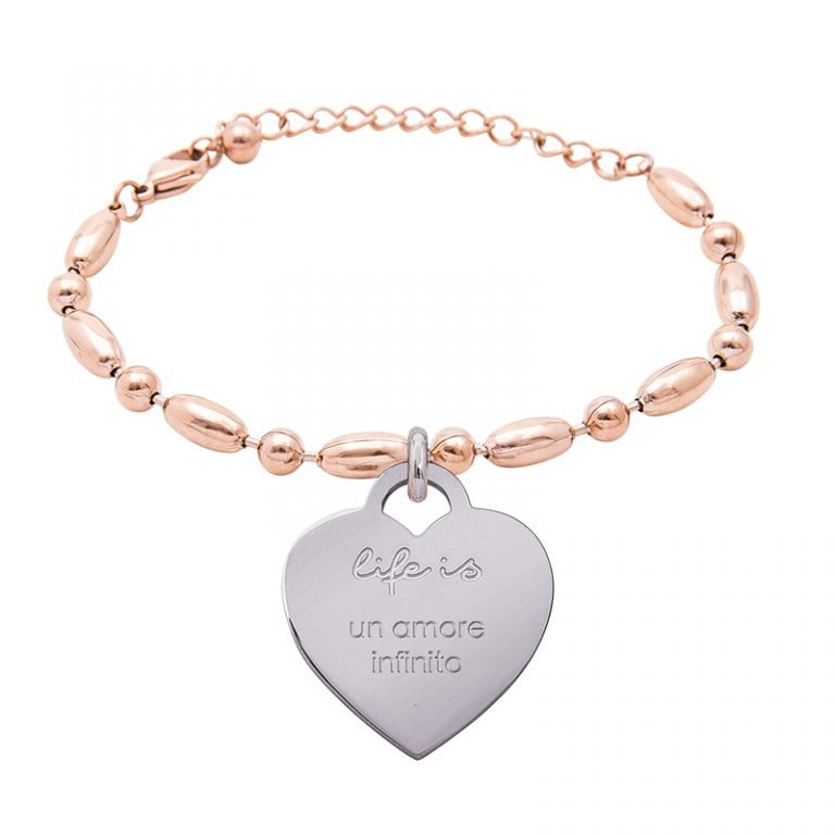Bracciale Life Is Love in acciaio con medaglietta un amore infinito B10825 For You Jewels